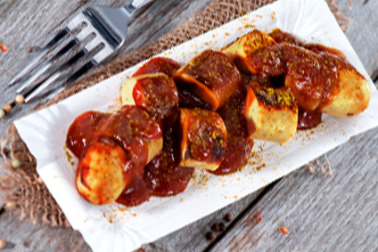 Currywurst mit Kürbisfritten